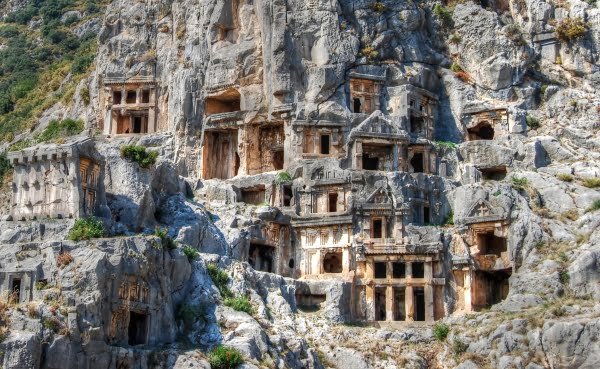 Historic Lycian rock tombs at Myra