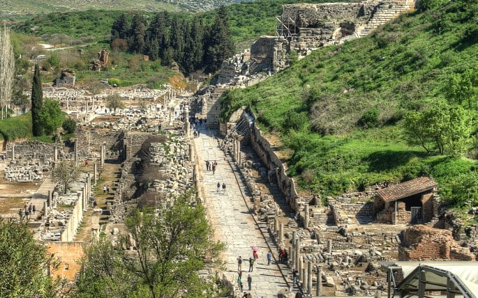 Marble Street of the ancient city of Ephesus in Turkey