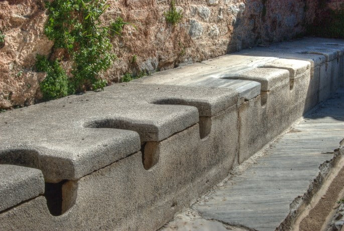 The public latrines of the ancient city of Ephesus in Turkey