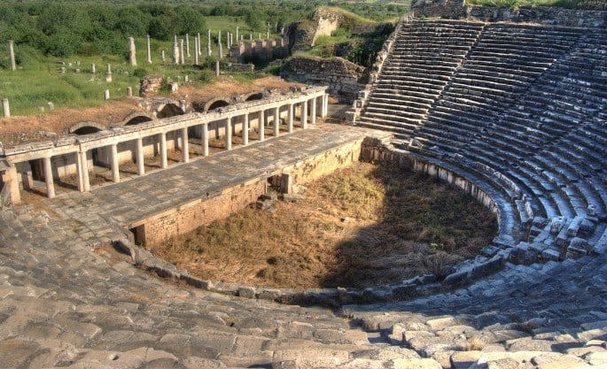 Theatre of Aphrodisias ancient city in Turkey