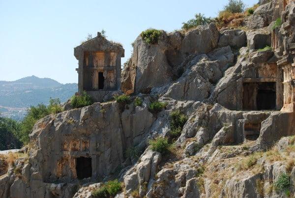 Lycian Rock Tombs on the hillside