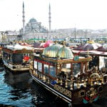 Floating restaurants of Galata Bridge