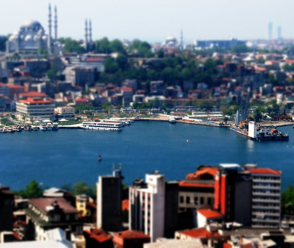 tiltshift photo of the view