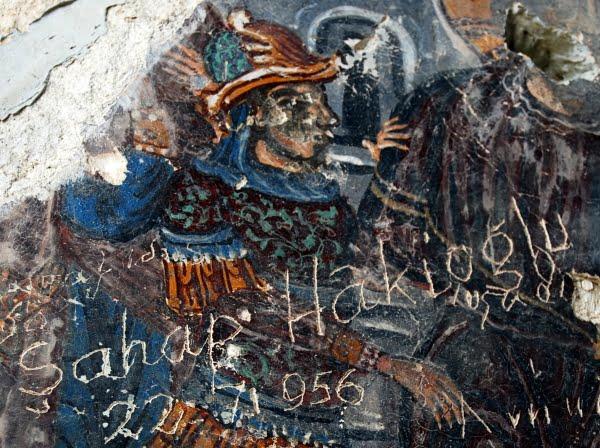Damaged frescoes