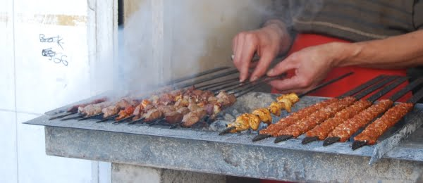 Turkish kebabs on the grill