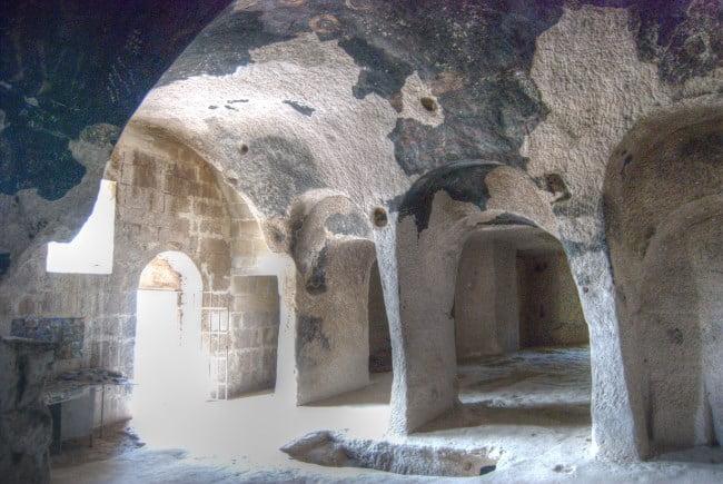 Inside Keslik Monastery in Cappadocia Turkey