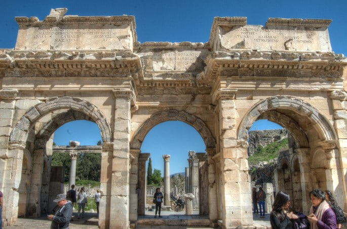 Gate of Mazaeus at Ephesus ancient city in Turkey