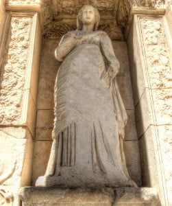 Statue at Celsus library