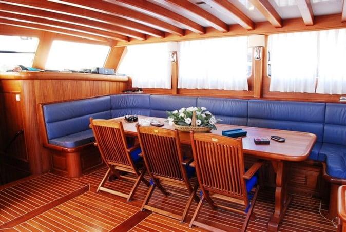 Inside a gulet boat